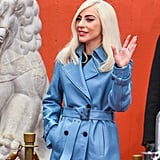 Lady Gaga Blue Leather Trench Coat
