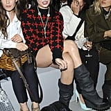 Daisy Lowe was in red crosses at Topshop Unique.