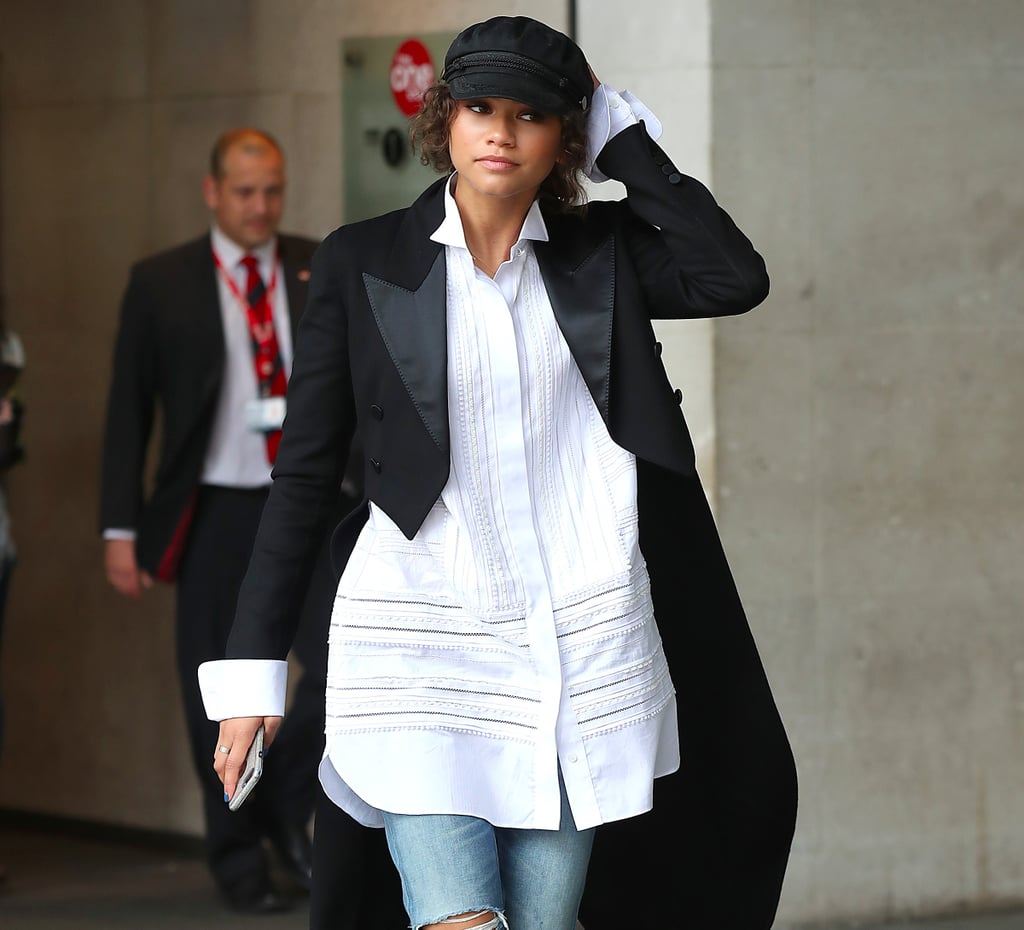 Zendaya Wearing a Tail Coat and Jeans in London June 2017