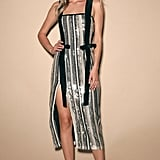 Lulus Late Night Conversations Silver Multistriped Sequin Midi Dress