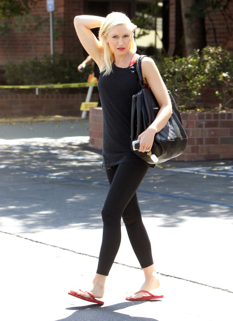 Gwen Stefani pulled her hair over one shoulder while running errands.