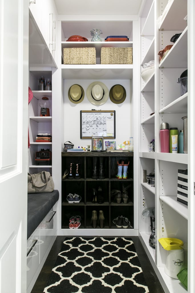 """Christina was especially delighted by the mudroom Jessica created because she has a no-shoe policy in her house. """"Before you'd come into the foyer, and it was just shoes everywhere, and it was awful. So now people can go into the mudroom and sit on a beautiful bench and put their shoes on."""""""