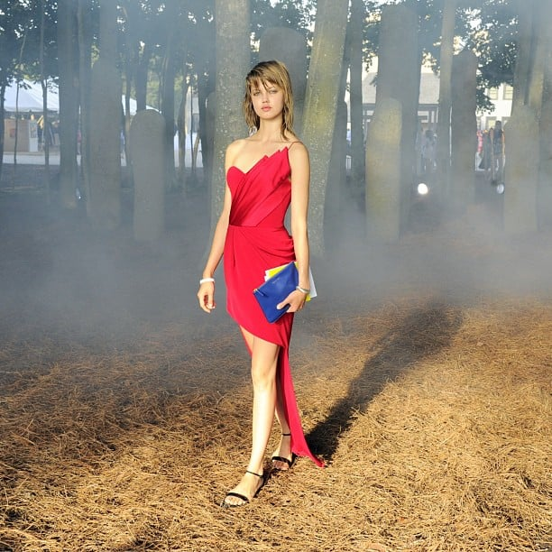 Lindsey Wixson's devilish dress was made all the more sinister by the approaching fog at the Watermill Devil's Heaven gala. Source: Instagram user patrickmcmullan