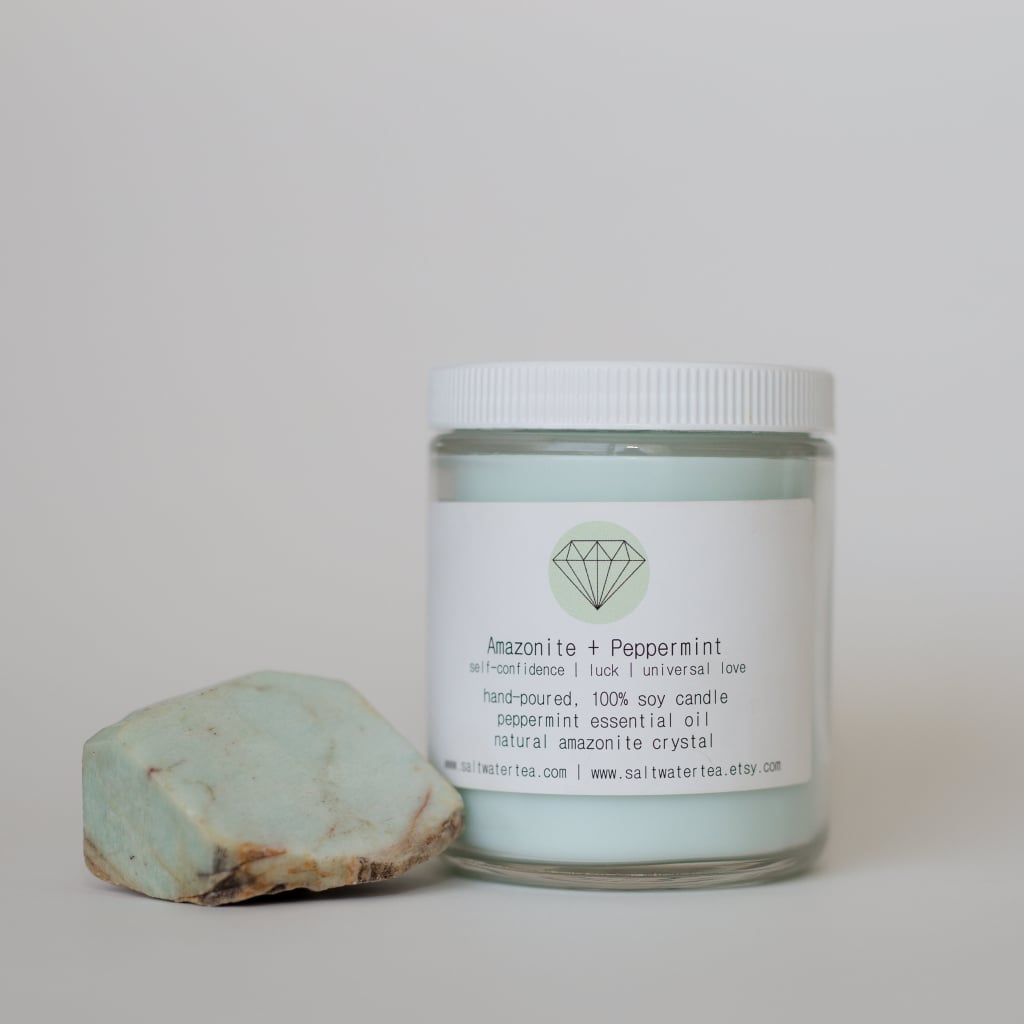 Amazonite and Peppermint Soy Crystal Candle ($26)