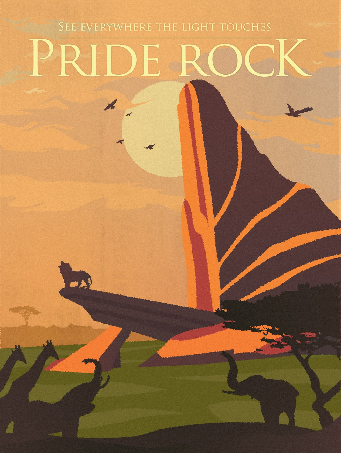Pride Rock The Lion King These Disney Vintage Travel Posters Have Me Ready To Discover A Whole New World Popsugar Smart Living Photo 2