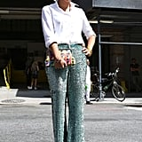 Glittery pants had a wow effect on a staple white button-down.