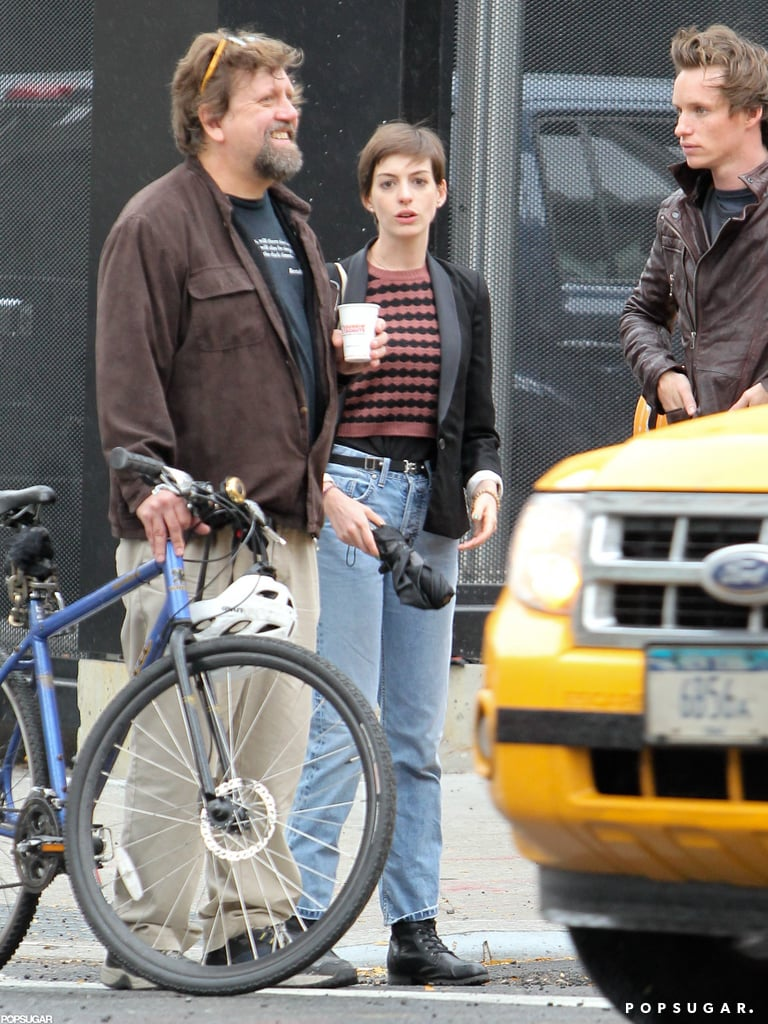 Anne Hathaway left a recording studio with her Les Misérables costar Eddie Redmayne in NYC yesterday. She is in the Big Apple for a one-night-only cabaret performance at The Public Theater, along with Broadway veterans like Audra McDonald and Harvey Fierstein. Anne and her new husband, Adam Schulman, returned home from their honeymoon earlier this week. The couple toured London and Paris during their big trip and touched down in LAX just in time for Anne's musical gig. In addition to her theater stint, Anne is gearing up for the Christmas release of Les Misérables. She was also recently attached to a starring role in The Low Self-Esteem of Lizzie Gillespie, a romantic comedy written by Mindy Kaling.