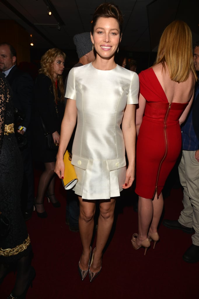 Jessica Biel wore a white pleated dress for the Hitchcock premiere's afterparty in LA.