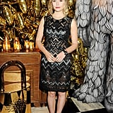 Elizabeth Olsen wore a zigzag Mulberry dress to the Mulberry dinner.