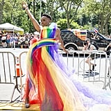 Billy Porter wearing a custom Christian Siriano rainbow gown.