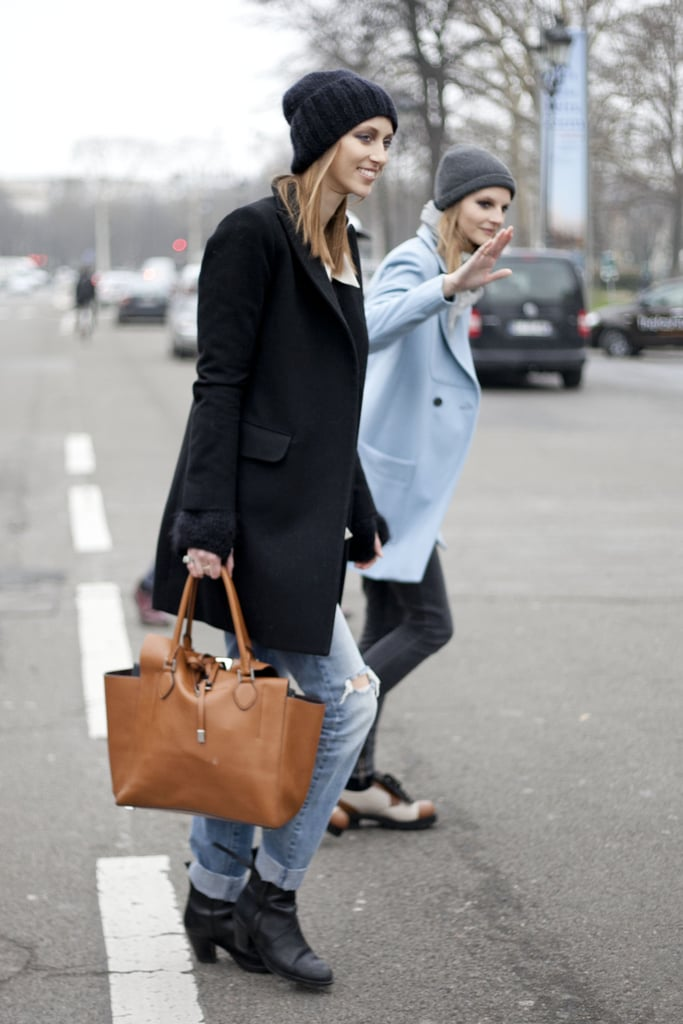 Doubled up on beanies and sophisticated outerwear.