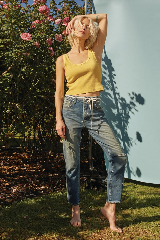 AMO Chloe Crop With Floral Embroidery Dive Bar Destroy