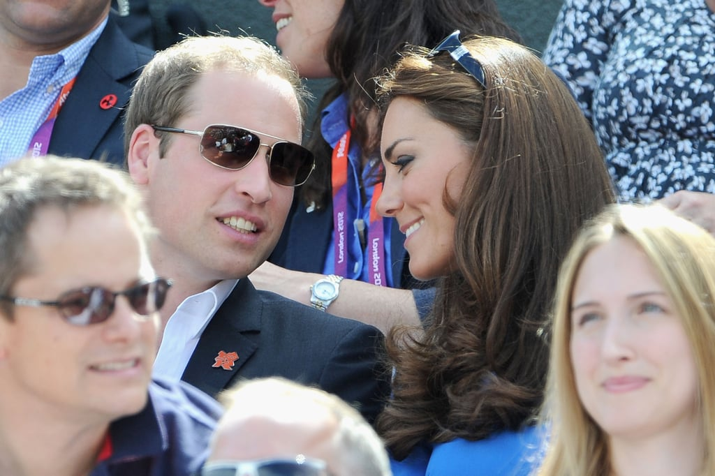 Kate Middleton leaned in to talk to her husband Prince William during the match.