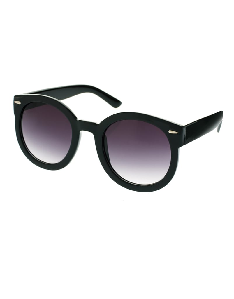 This slightly oversized shape and classic frame silhouette will flatter just about every face shape.  Asos Oversized Retro Sunglasses ($21)