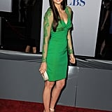 Nina dazzled in an emerald-hued, lacy Elie Saab number at the People's Choice Awards.
