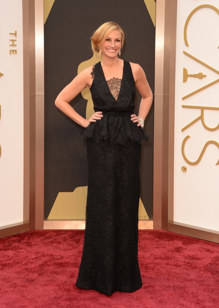 Julia stunned in a lace Givenchy dress with a peplum waist at the 2014 Oscars.