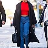 Priyanka Chopra's Red Crop Top and Jeans