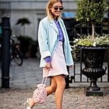 Give the pastel color trend a try by teaming a soft-hued skirt with another pale tone on top.