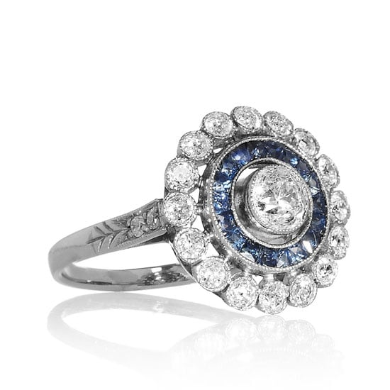 Platinum, diamond and sapphire ring, approx $8,608, Heirlooms at Net-a-Porter
