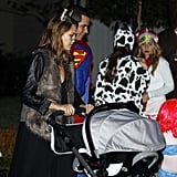 Jessica Alba and Cash Warren with Honor and Haven on Halloween.