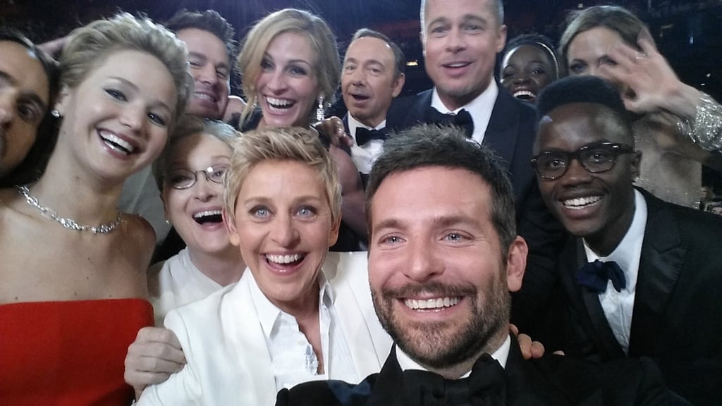 Here's that famous Oscars selfie that Ellen DeGeneres took in March 2014 with Bradley Cooper, Jennifer Lawrence, Julia Roberts, Brad Pitt, and many more. Source: Twitter user TheEllenShow