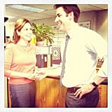 Jenna Fischer and John Kransinski palled around between takes on The Office. Source: Instagram user angekinz