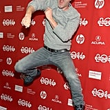 Mark Duplass jumped for joy at the premiere of The One I Love on Tuesday.