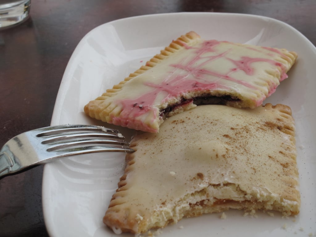A little digging revealed the toaster pastries were filled with raspberry and apricot fillings. The raspberry version was iced with an orange glaze.