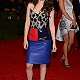Kristen Stewart wore black heels with white laces and a Balenciaga dress to the Met Ball.