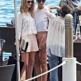 Rosie Huntington-Whiteley stopped for a photo op in Cannes on Wednesday.