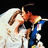 The newlyweds kissed on the balcony of Buckingham Palace in 1981.