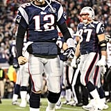 Tom Brady was in his Patriots uniform.
