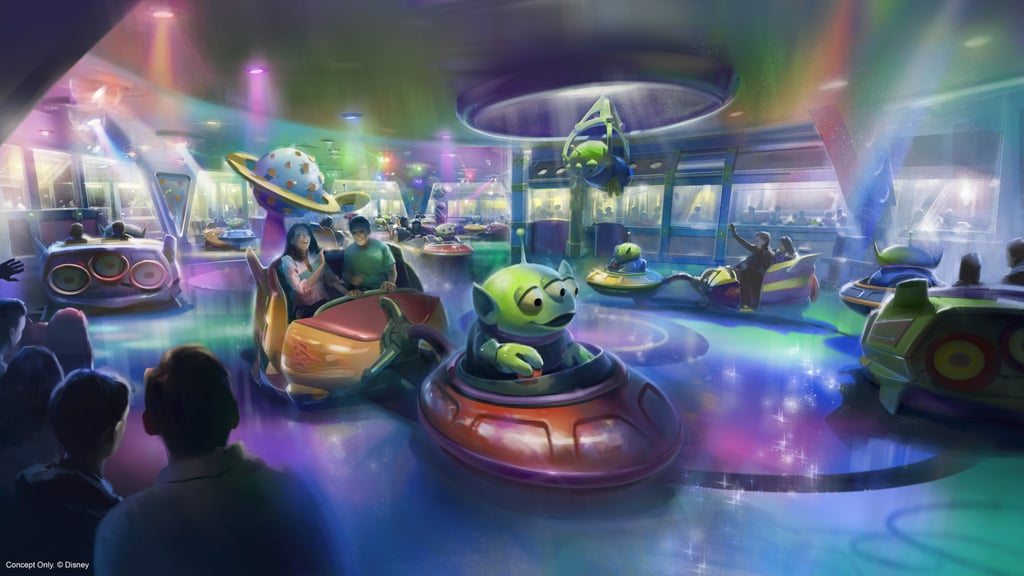 A mock-up of the inside of the Alien Swirling Saucers ride.