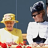 The queen shared a laugh with her oldest granddaughter, Zara Tindall, at the Royal Ascot in 2015.