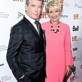 Pierce Brosnan and Emma Thompson posed together at the premiere of their film, The Love Punch.