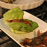 Rocco taught me how to assemble one of David Chang's lettuce wraps: fill the lettuce with the Korean barbecued beef, top with ki