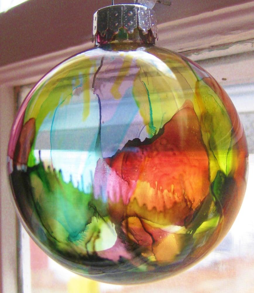 Alcohol ink ornaments glass ball ornament diys popsugar smart alcohol ink ornaments baditri Images