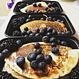 Protein pancakes topped with blackberries and blueberries