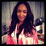 Jourdan Dunn looked lovely in her pink robe. Source: Instagram user fashionologie