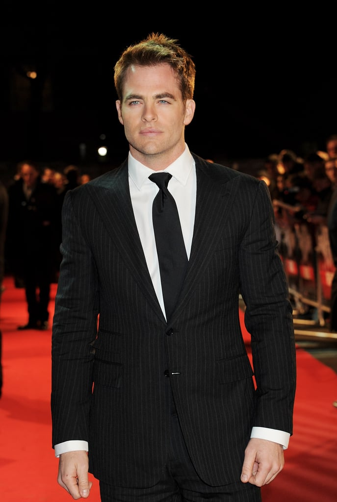 Chris Pine looked mighty fine in a dark suit.