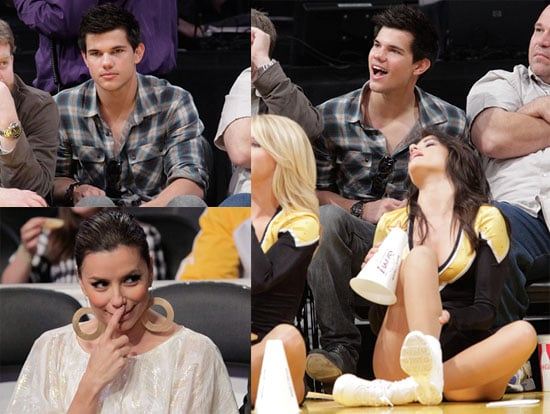 Photos of Taylor Lautner at a Lakers Game in LA With Eva Longoria and Khloe Kardashian 2010-04-05 07:00:00