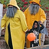 Sandra Bullock and her pal Melissa McCarthy dressed up as fishermen to take Sandra's son, Louis, out trick-or-treating on Halloween in LA.