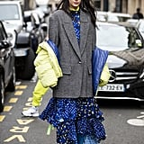 Winter Outfit Idea: An Oversize Blazer and a Frilly Dress