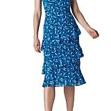 Whistles Almond Print One-Shoulder Dobby Dress