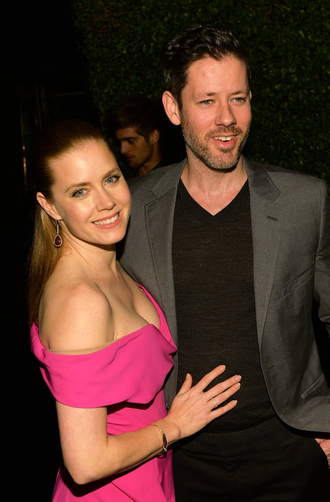 Amy Adams stayed close to her fiancé, Darren Le Gallo, at a Vanity Fair party celebrating American Hustle on Thursday night.