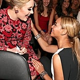 Adele seemed overjoyed to be addressed by Beyoncé.