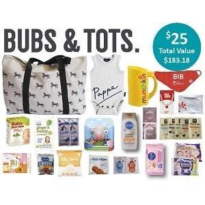 Bubs & Tots Showbag ($25) Includes:  Bandana bib  Peppa Pig figurine pack  MUNCHKIN giraffe shampoo rinser