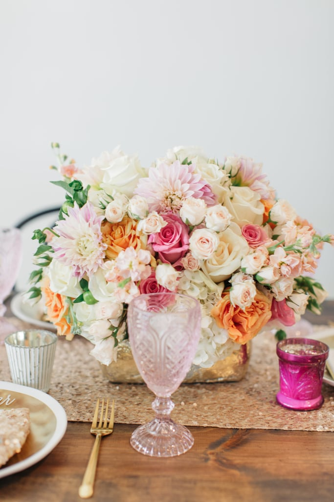 Mix up the tableware to offset the pinks and reds.