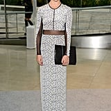 Teresa Palmer was statuesque in her sheer printed Yigal Azrouel gown, which she accessorized with an oversized clutch.
