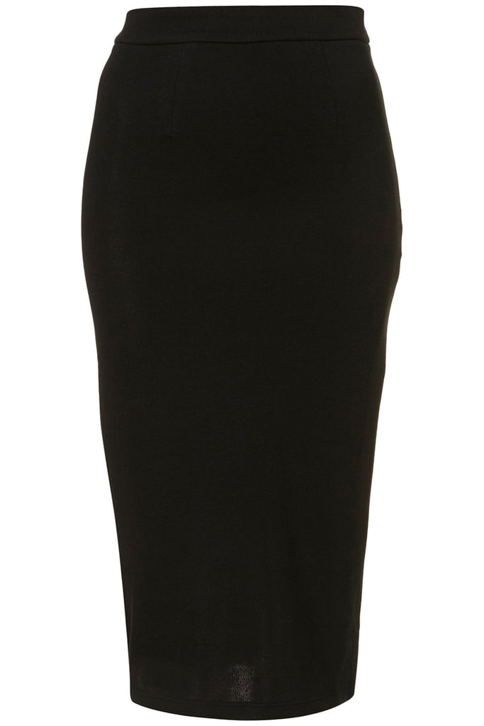 Go classic: An understated black pencil skirt silhouette is the ultimate Fall must have. Wear this with platform sandals and an embellished top for nights out on the town and with tights, booties, and a leather jacket come cooler weather.  Topshop Jersey Pencil Skirt ($50)